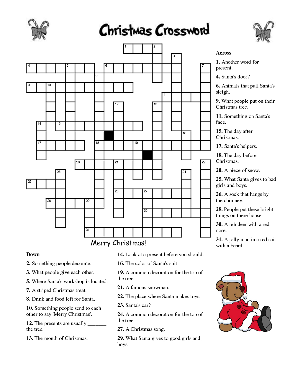 Christmas Crossword Puzzle Worksheet Printable Worksheets And