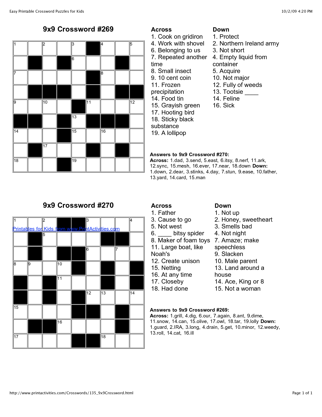 Printable Crosswords For 15 Year Olds