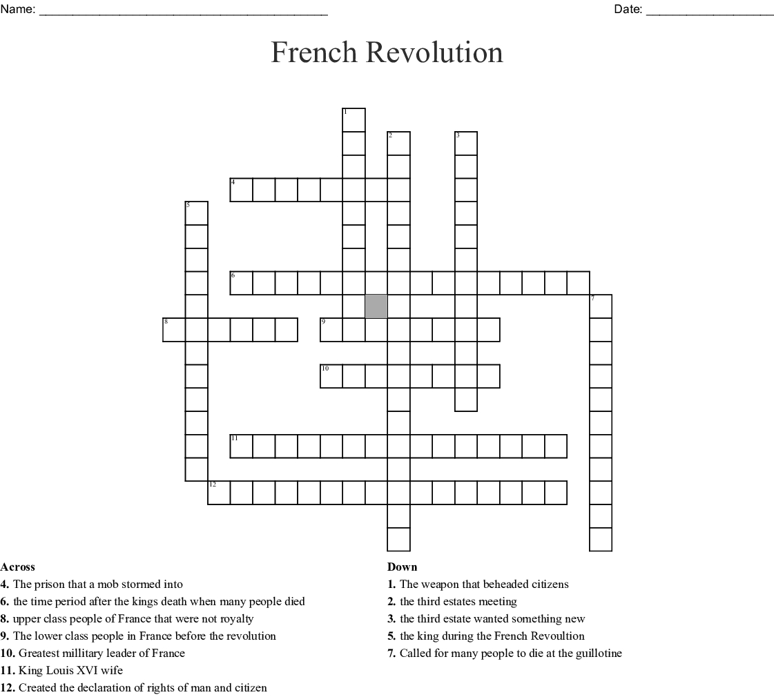 Crossword Puzzles In French Printable