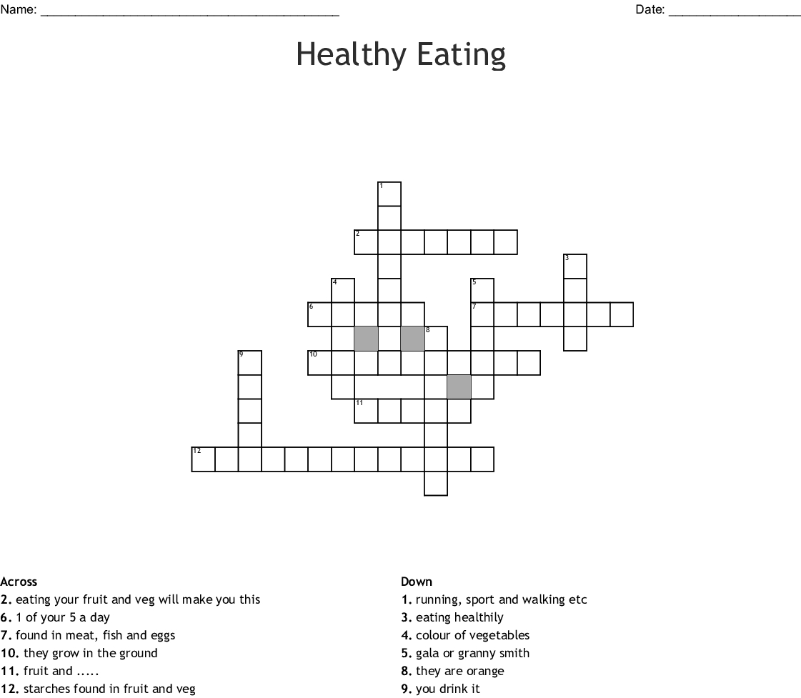 Printable Nutrition Crossword Puzzle