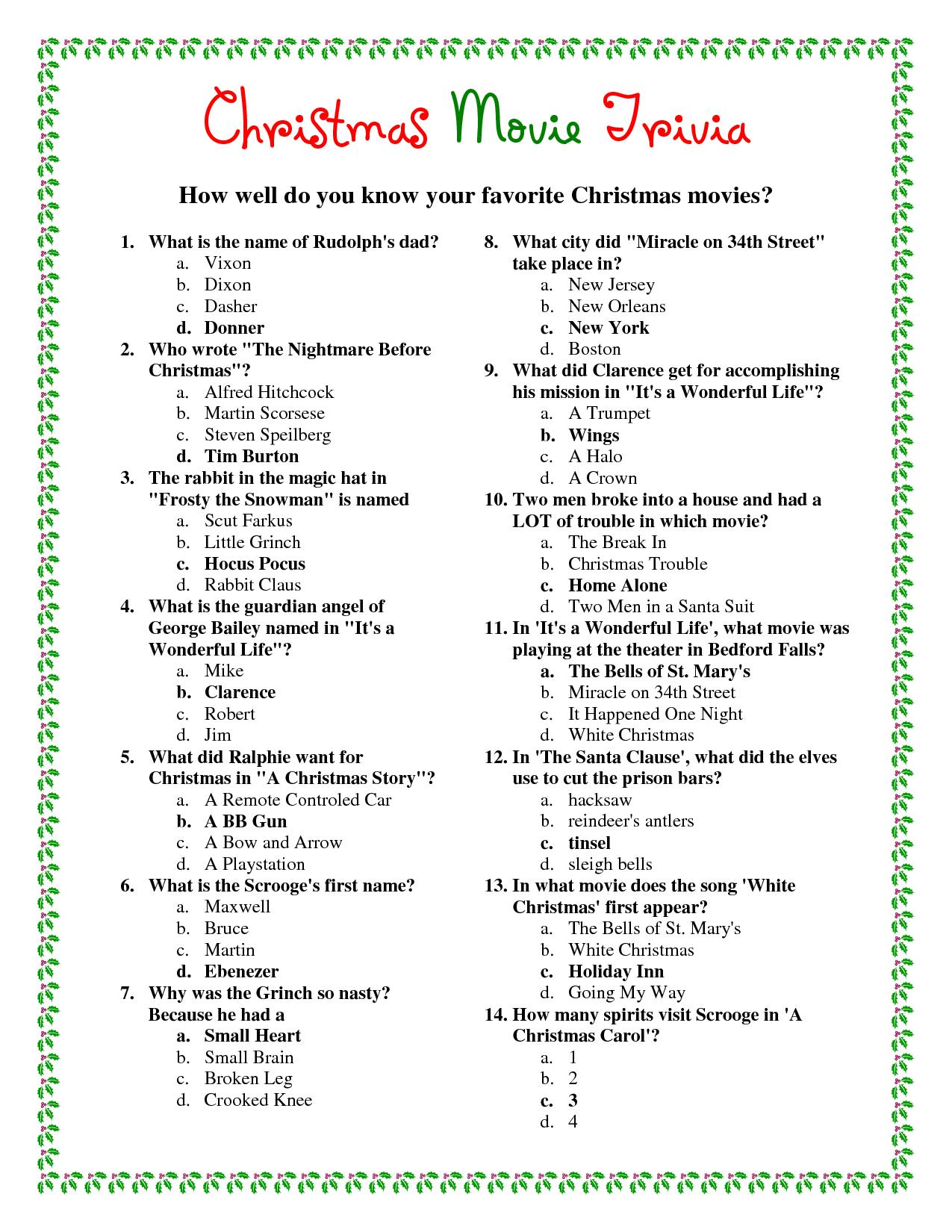 Agile Free Printable Christmas Bible Trivia