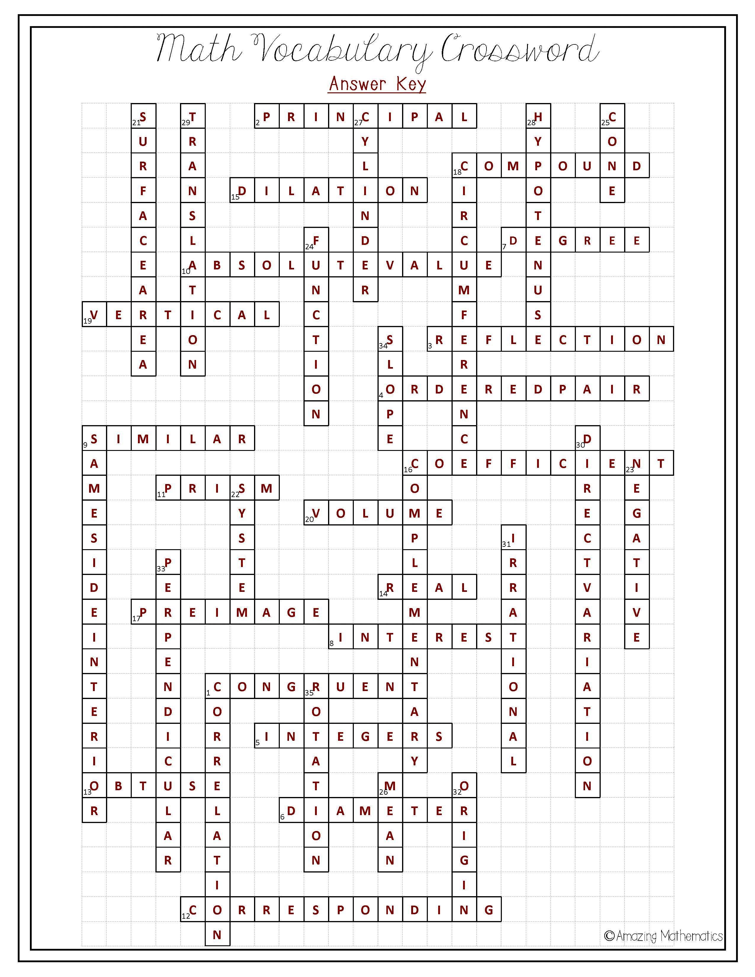 Algebra 1 Crossword Puzzles Printable
