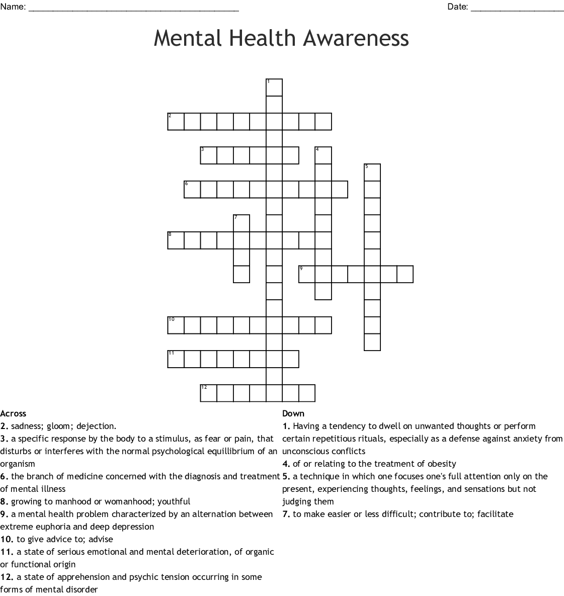 Printable Crossword Puzzles For Mental Health