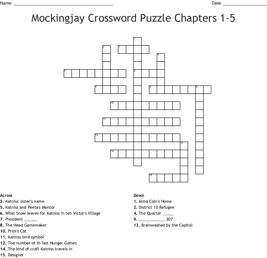 Hunger Games Crossword Puzzle Printable