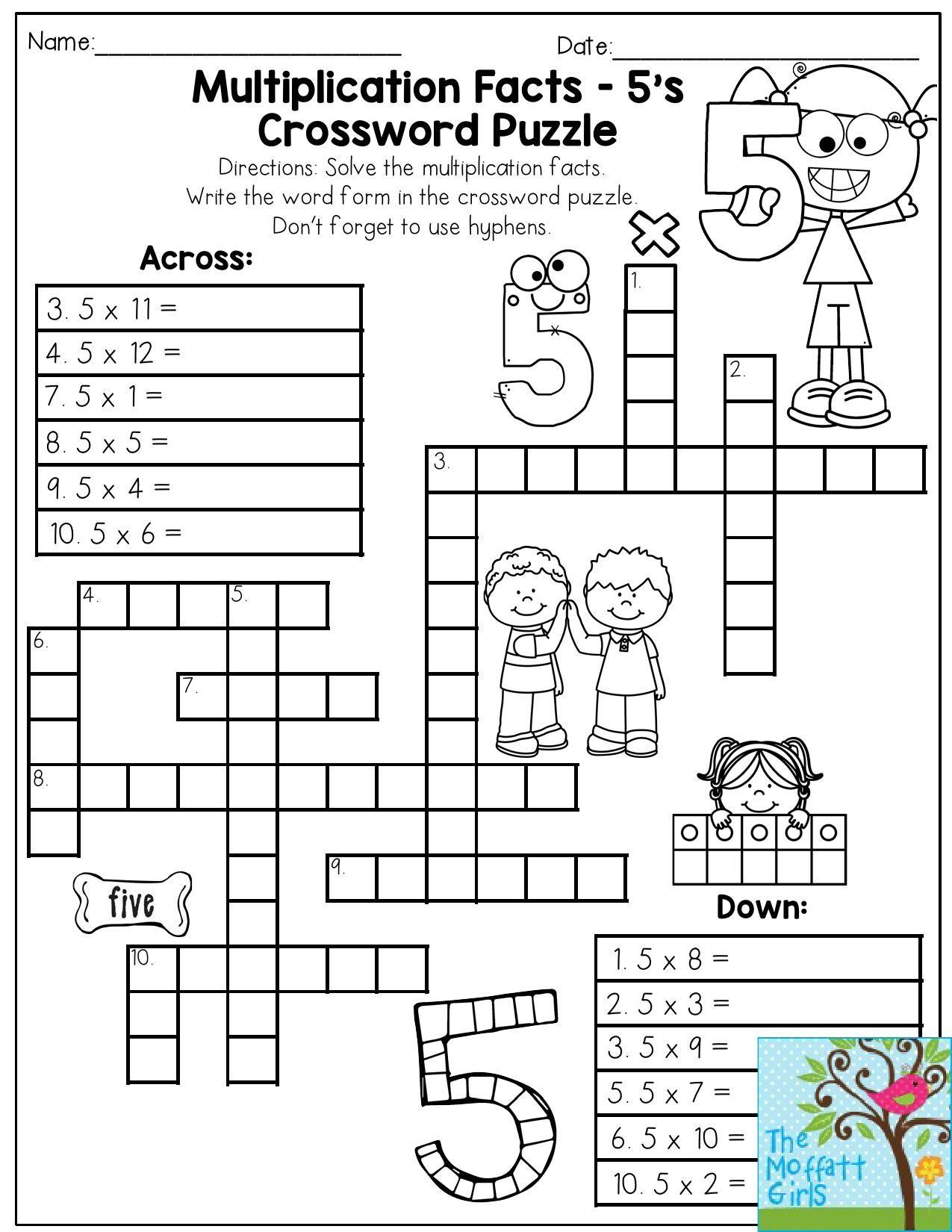 5th Grade Crossword Puzzles Printable