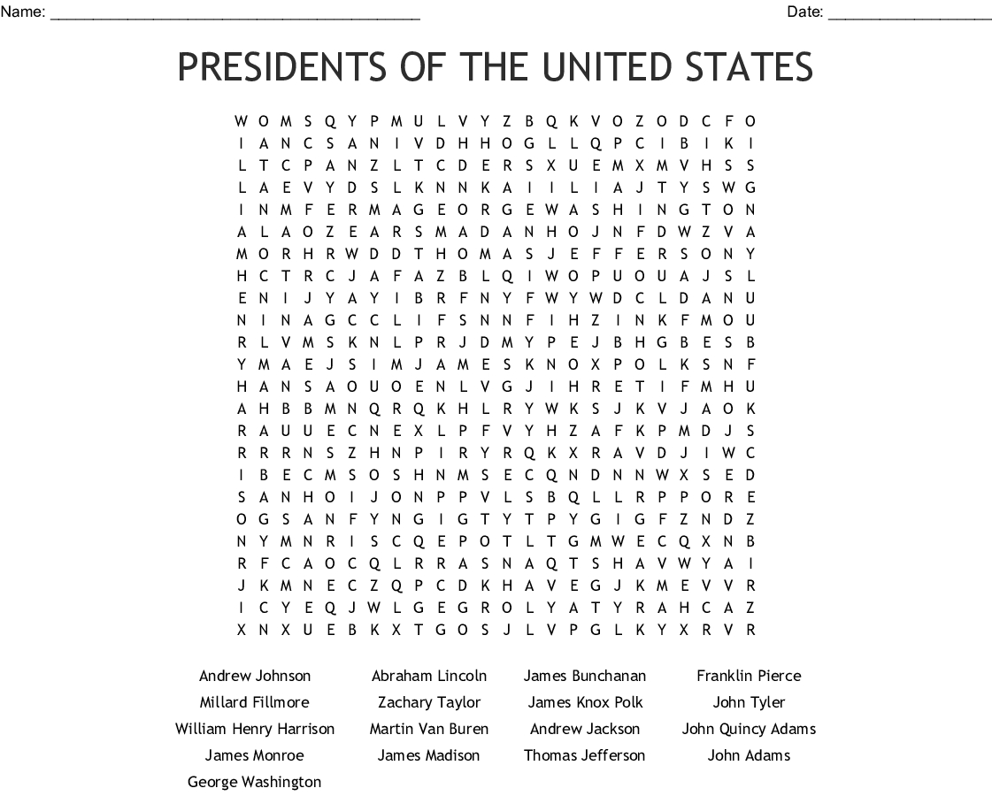 Us Presidents Crossword Puzzle Printable