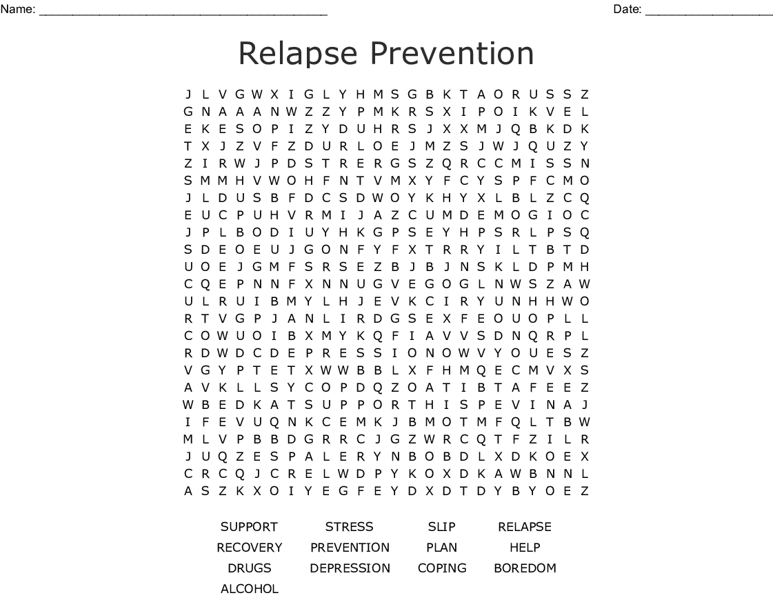 Addiction Recovery Word Search