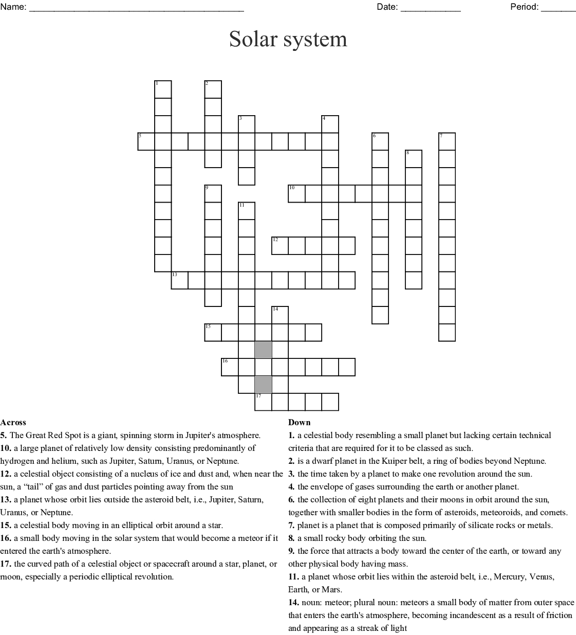 Solar System Crossword Puzzle Printable