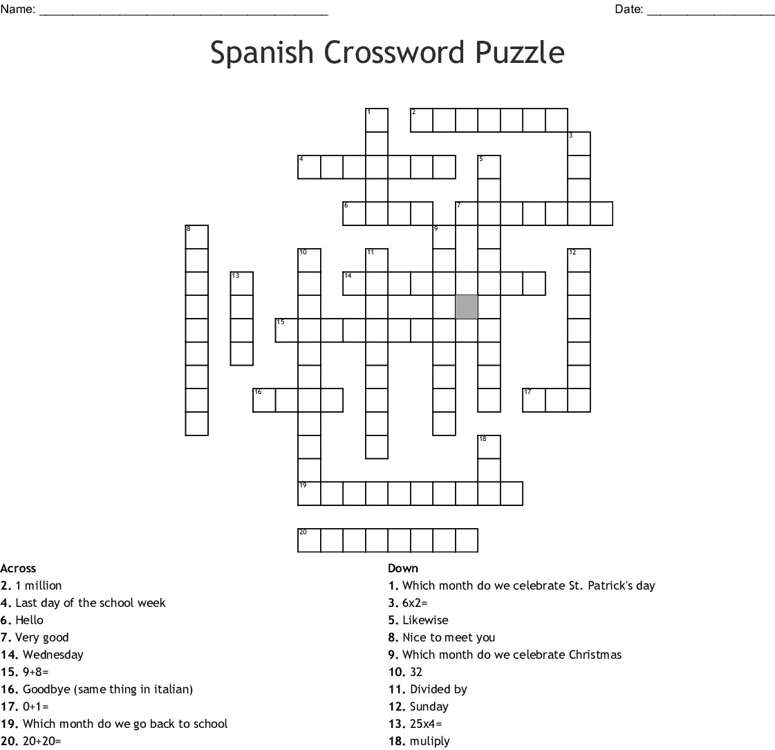 Spanish 2 Chapter 3b Crossword