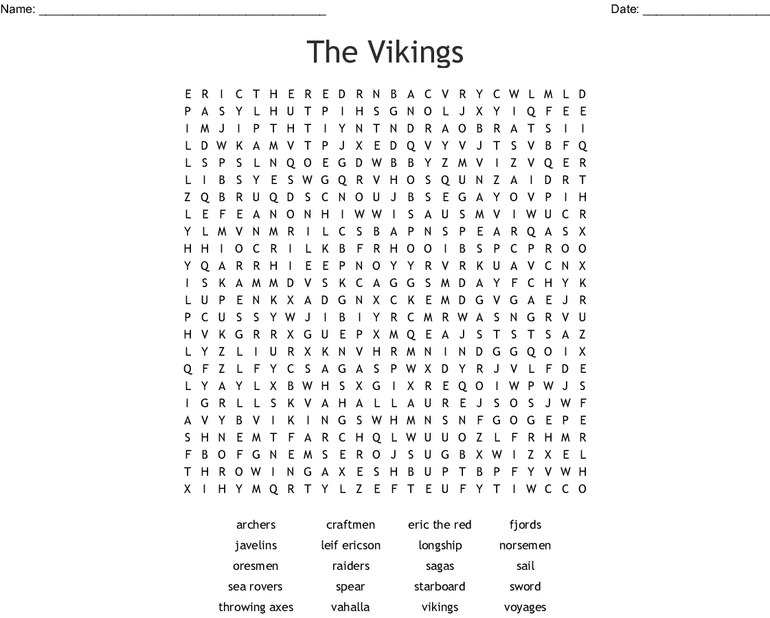 The Vikings Word Search
