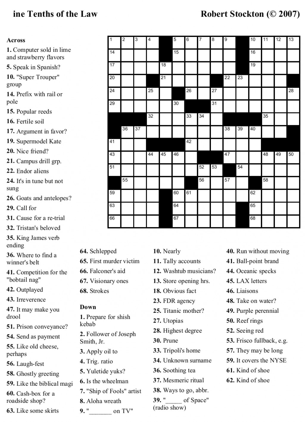 Printable Nursing Crossword Puzzles