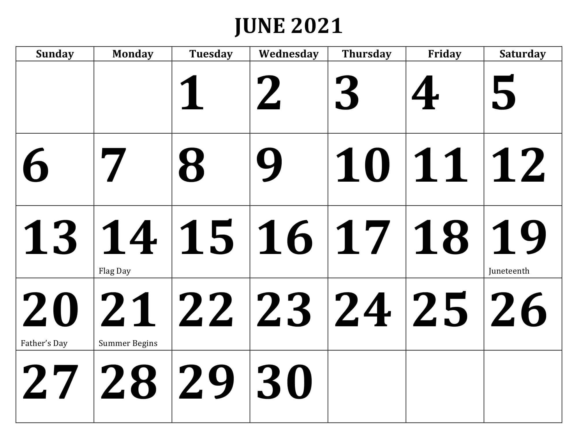 Printable June 2021 Calendar For Editable and Decorative Template