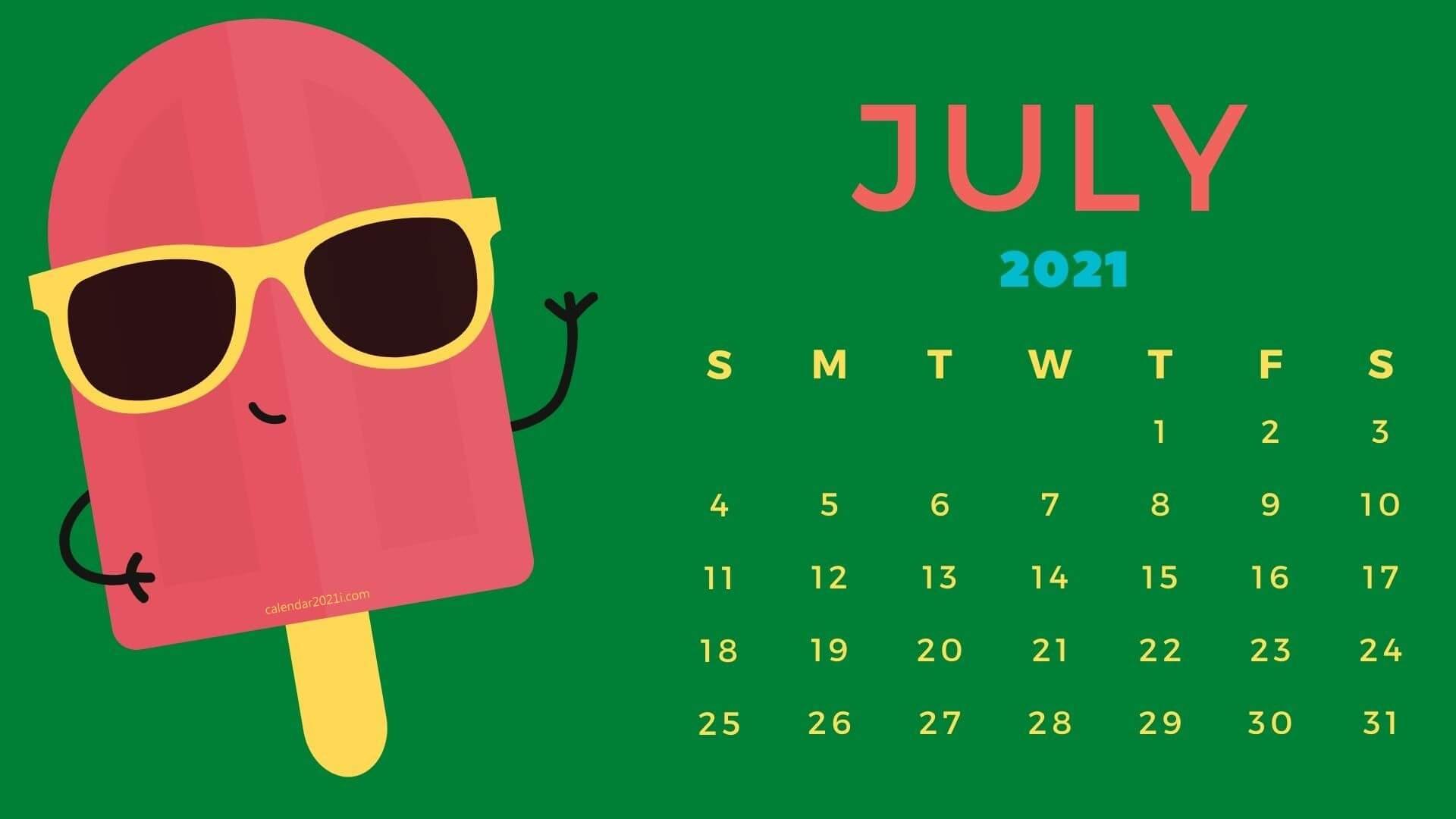 Free July 2021 Desktop Calendar Wallpaper Download