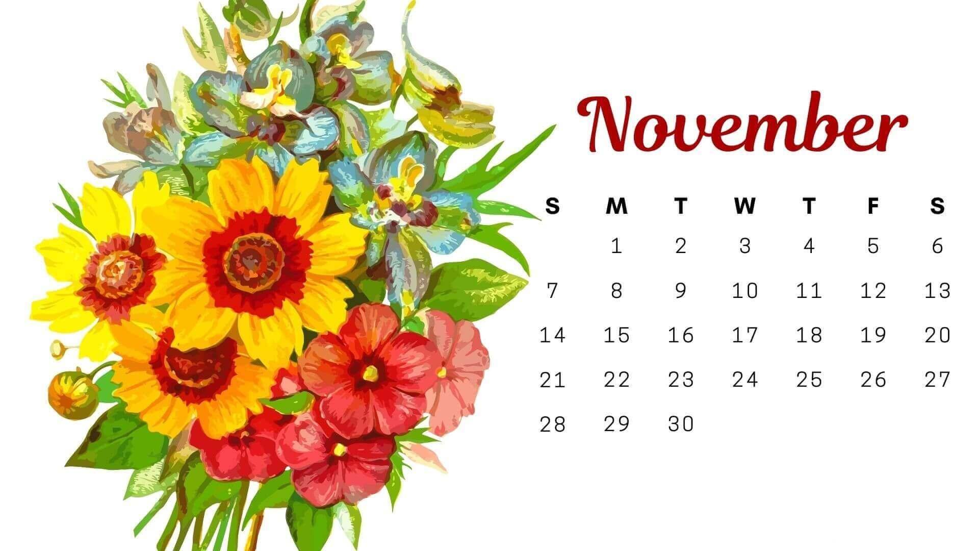 Floral November 2021 Wall Calendar Cute Pink Design Wallpaper