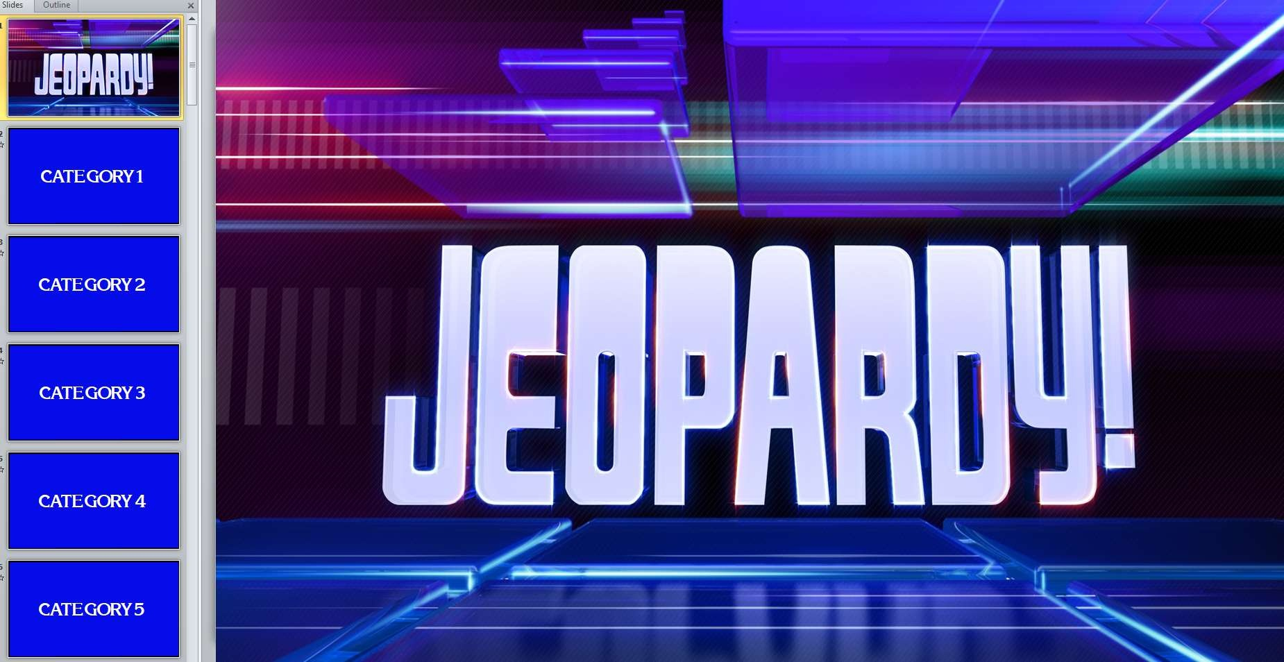 Free Printable Jeopardy Template