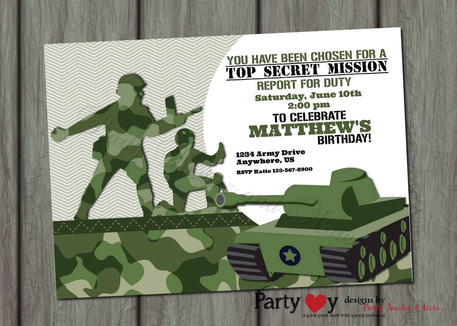 Camouflage Birthday Invitation Printable Or Printed With