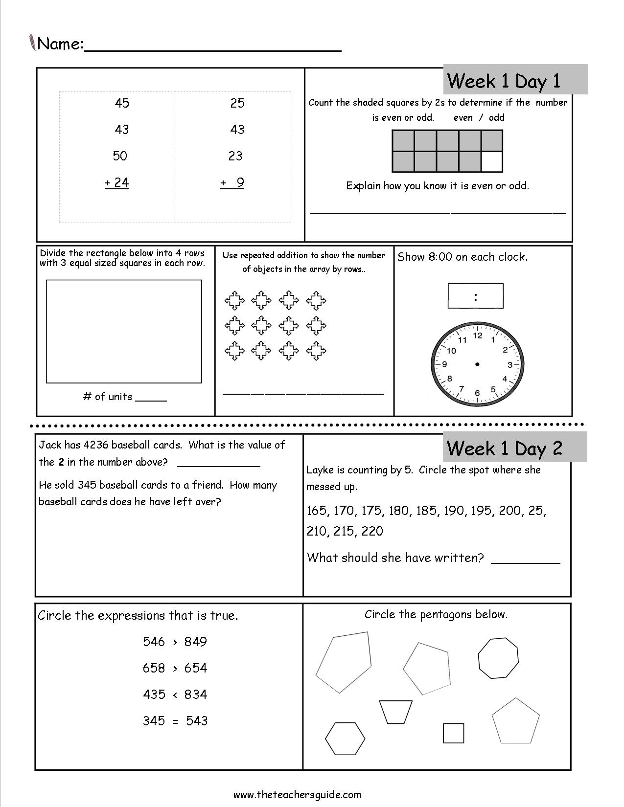 Free Printable Daily Math Warm Ups