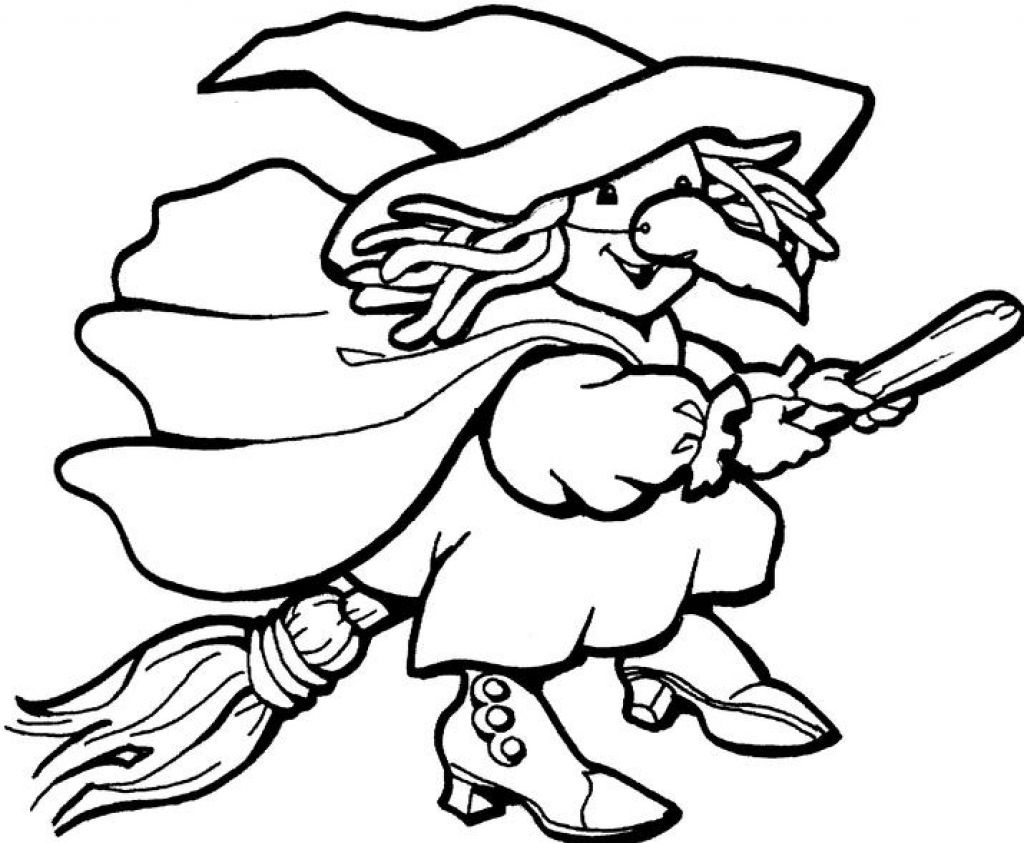 Halloween Witch And Cat Coloring Page For Kids Printable