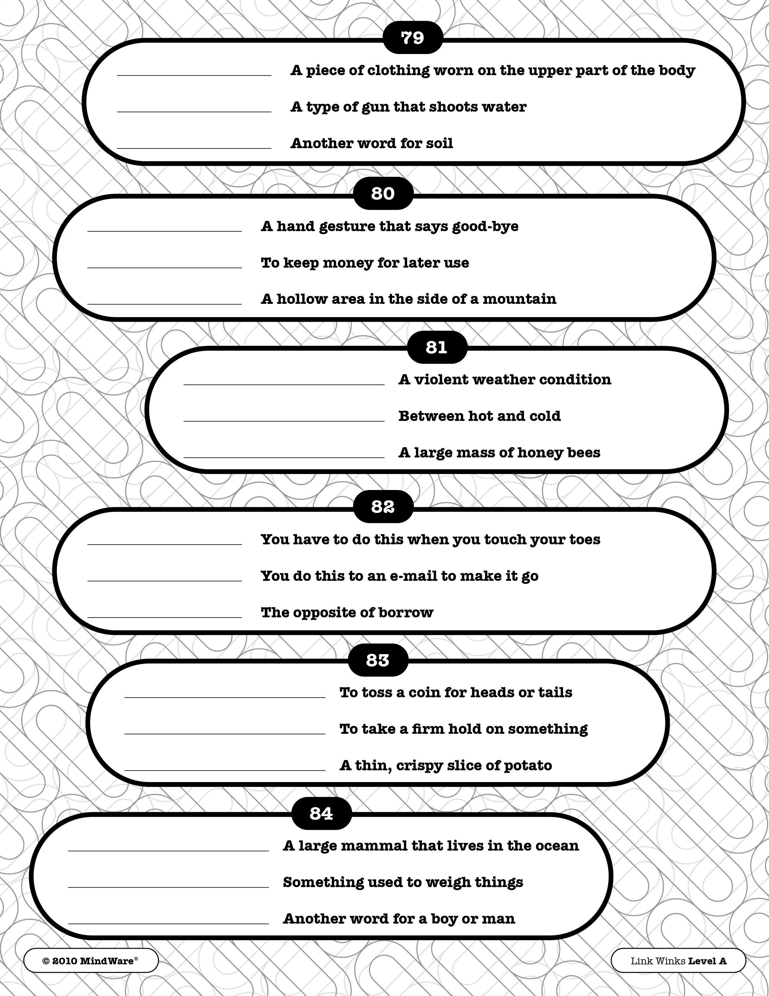Free Printable Word Winks