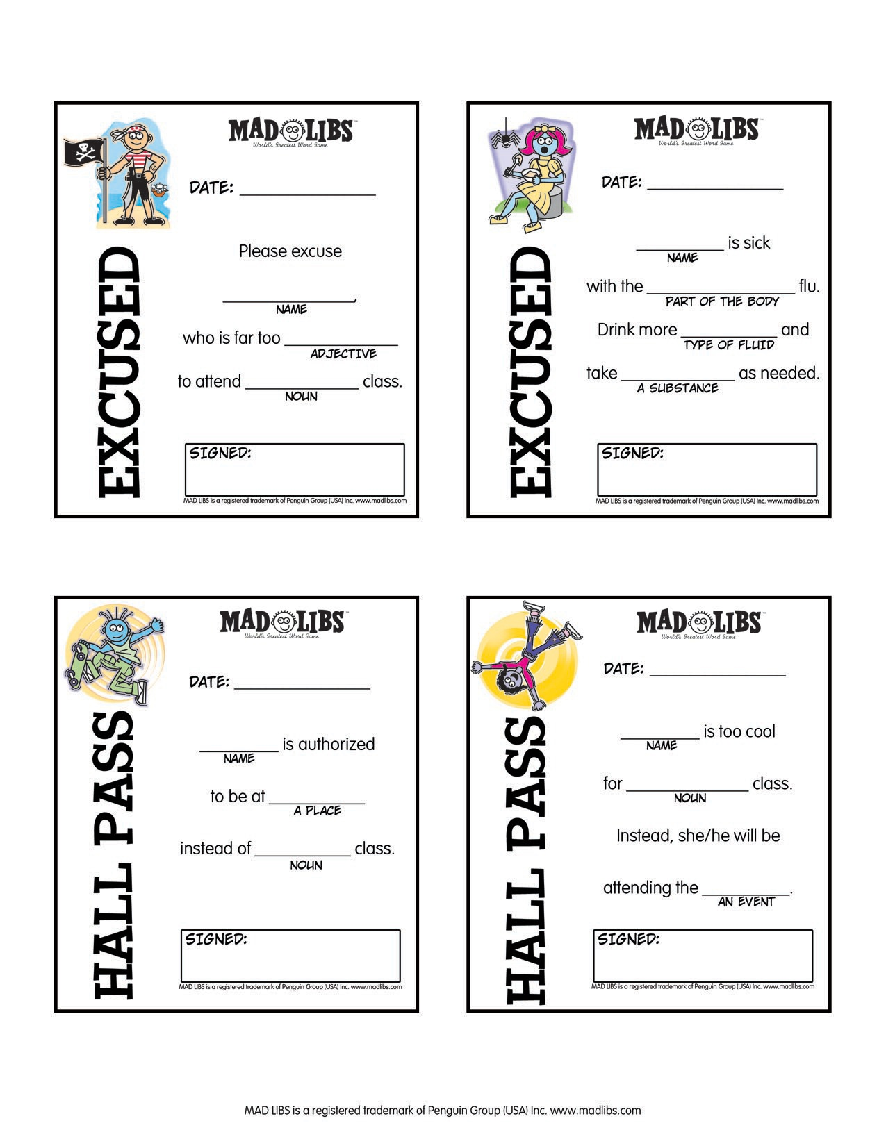 Printable Free Mad Libs Sheets