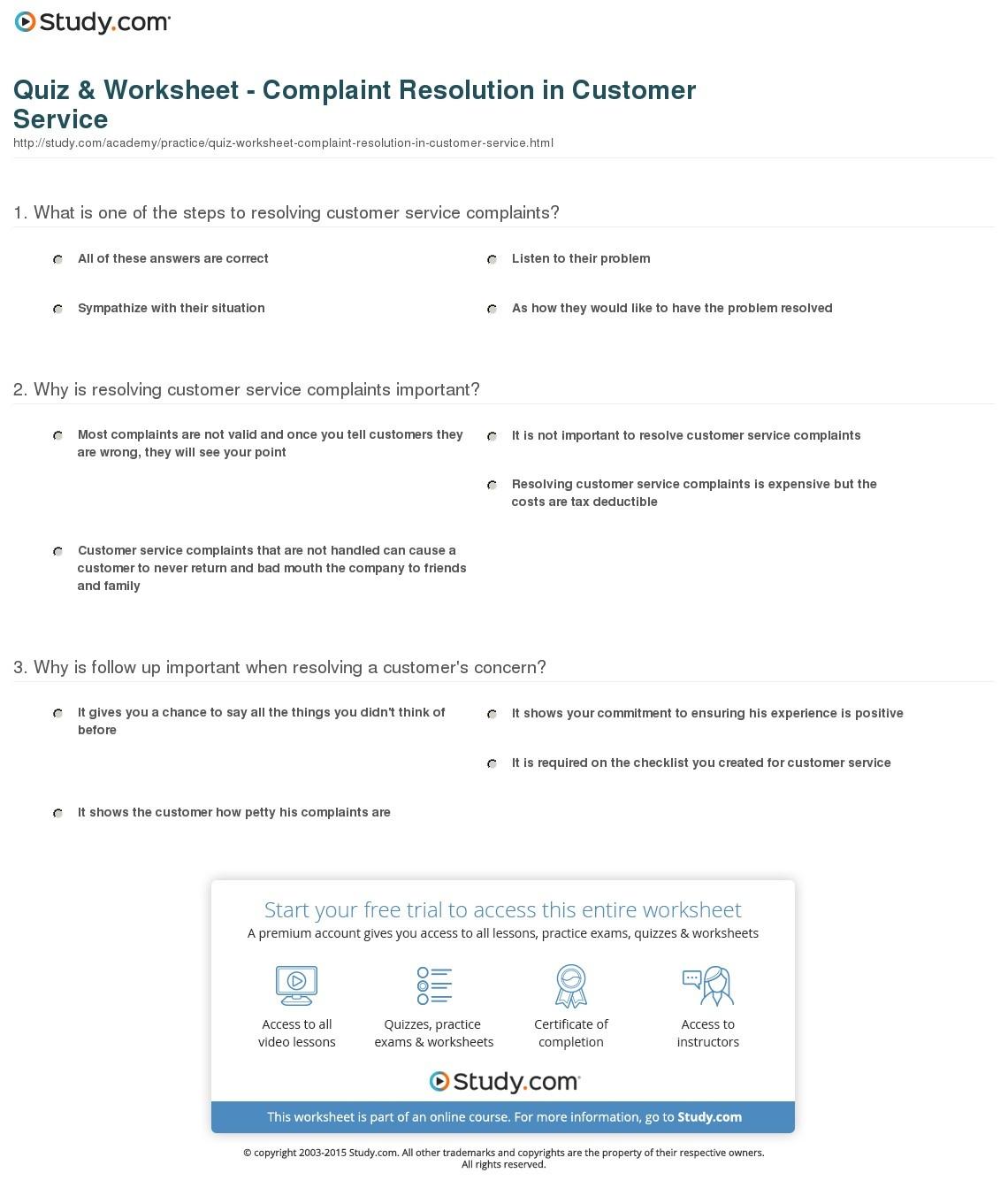 Free Printable Customer Service Worksheets