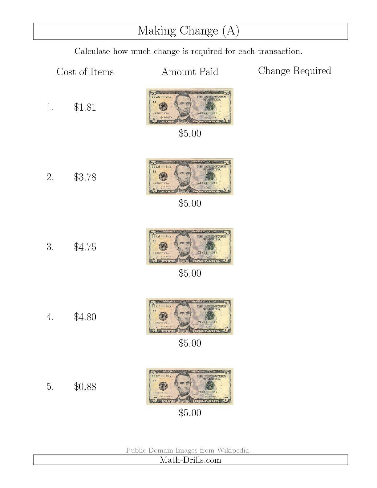 Free Printable Making Change Worksheets