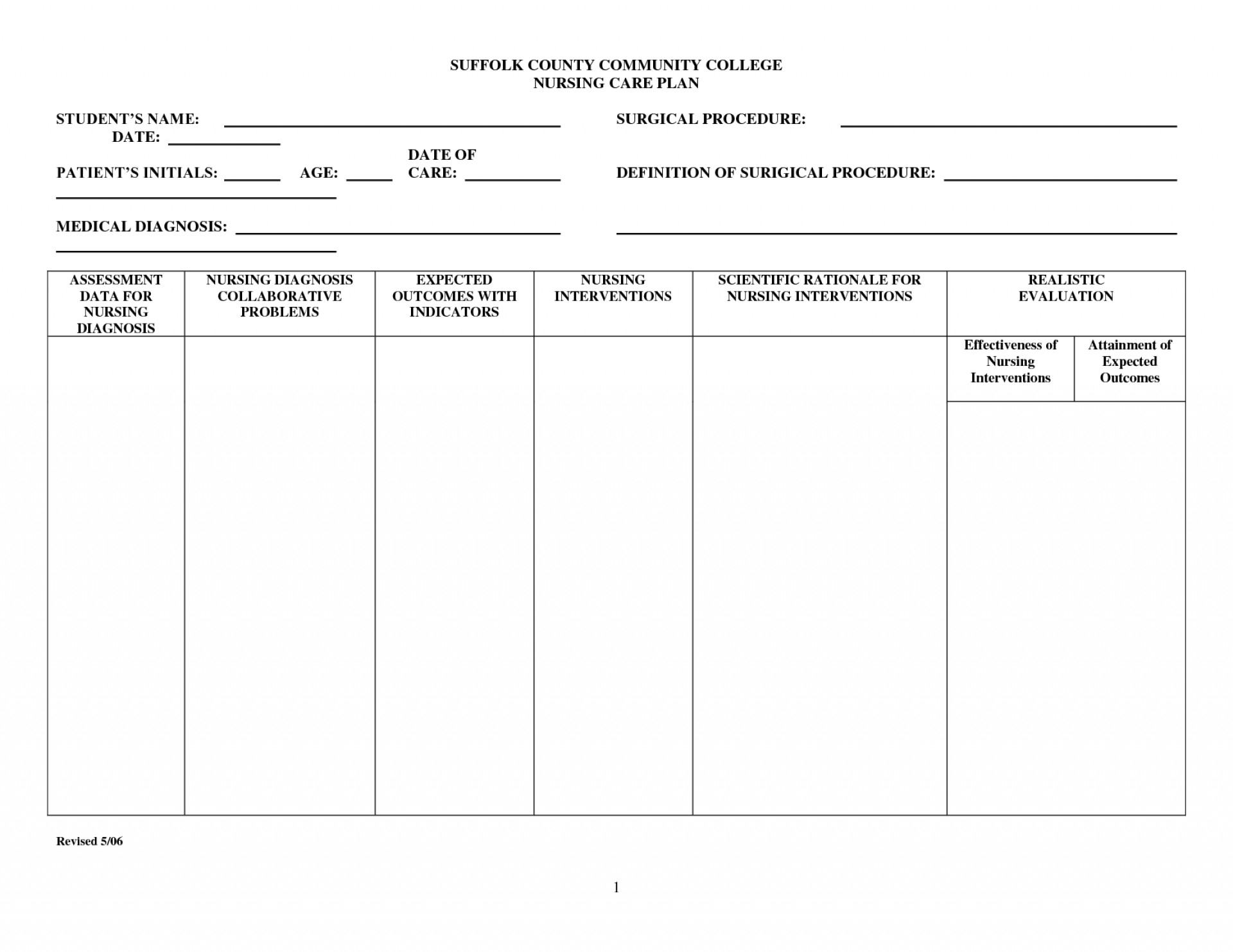 Free Printable Blank Nursing Care Plan