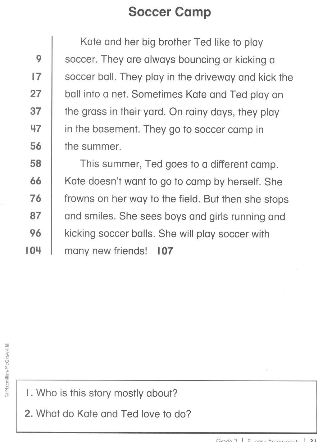 2nd Grade Reading Fluency Passage