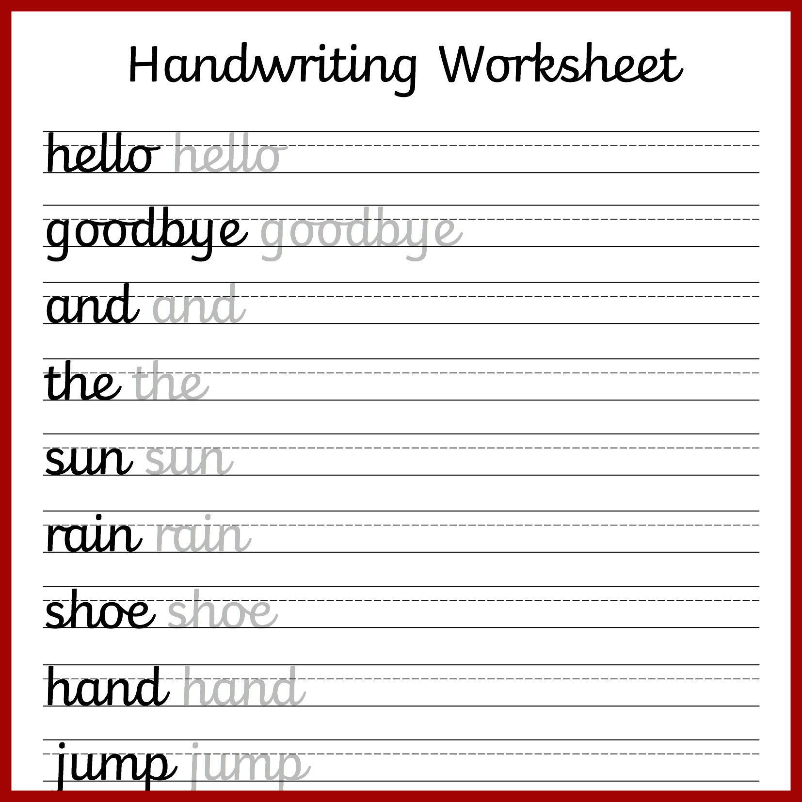 Kindergarten Cursive Handwriting Worksheet Printable