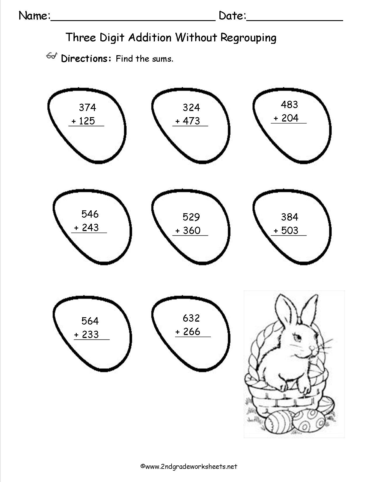 Free Printable Easter Bunny Coloring Worksheet For