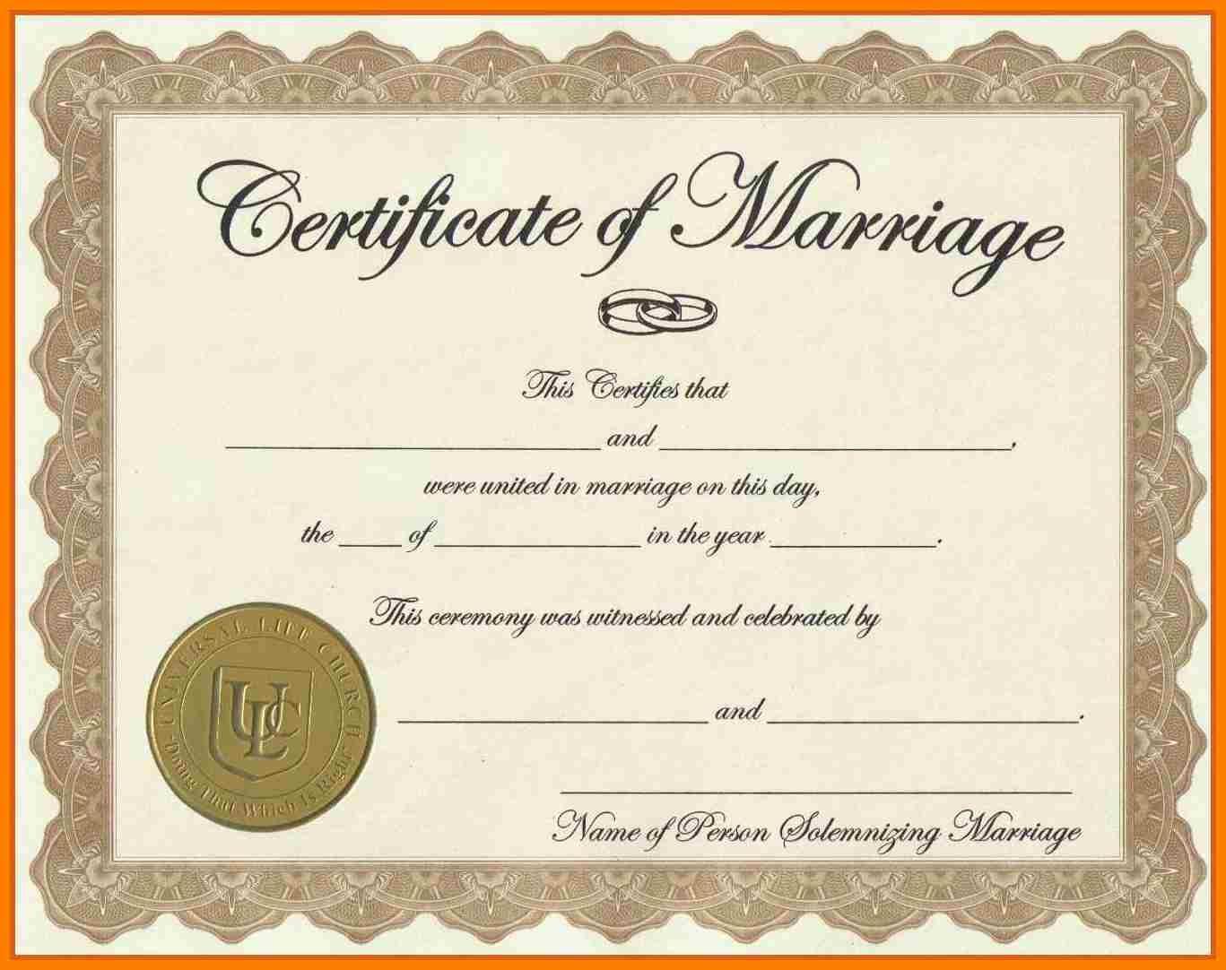 Fake Marriage Certificate Printable Free