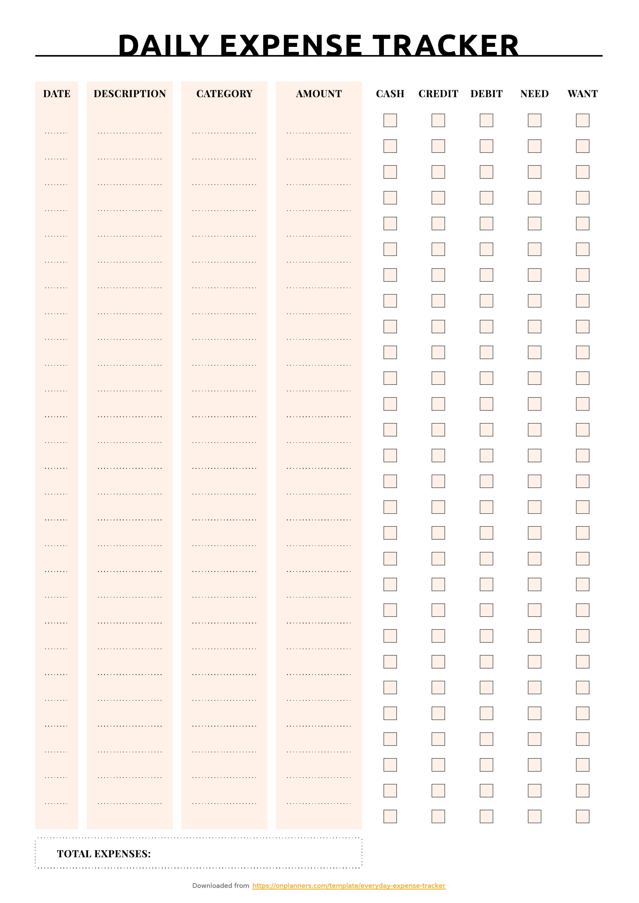 Free Printable Daily Expense Tracker
