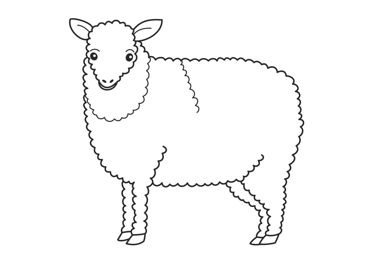 Cute Cartoon Lamb Coloring Page