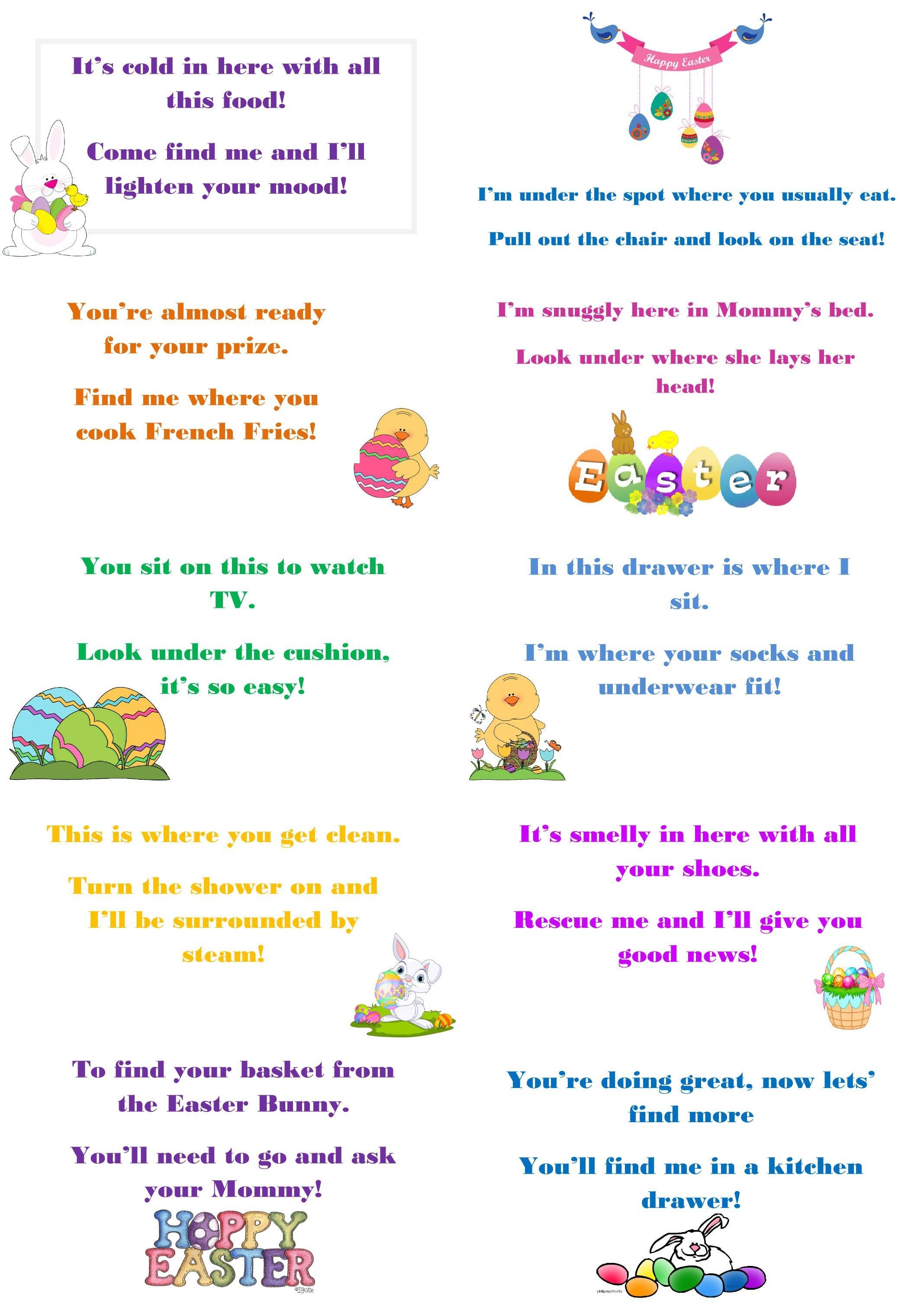 Free Printable Easter Egg Hunt Riddles