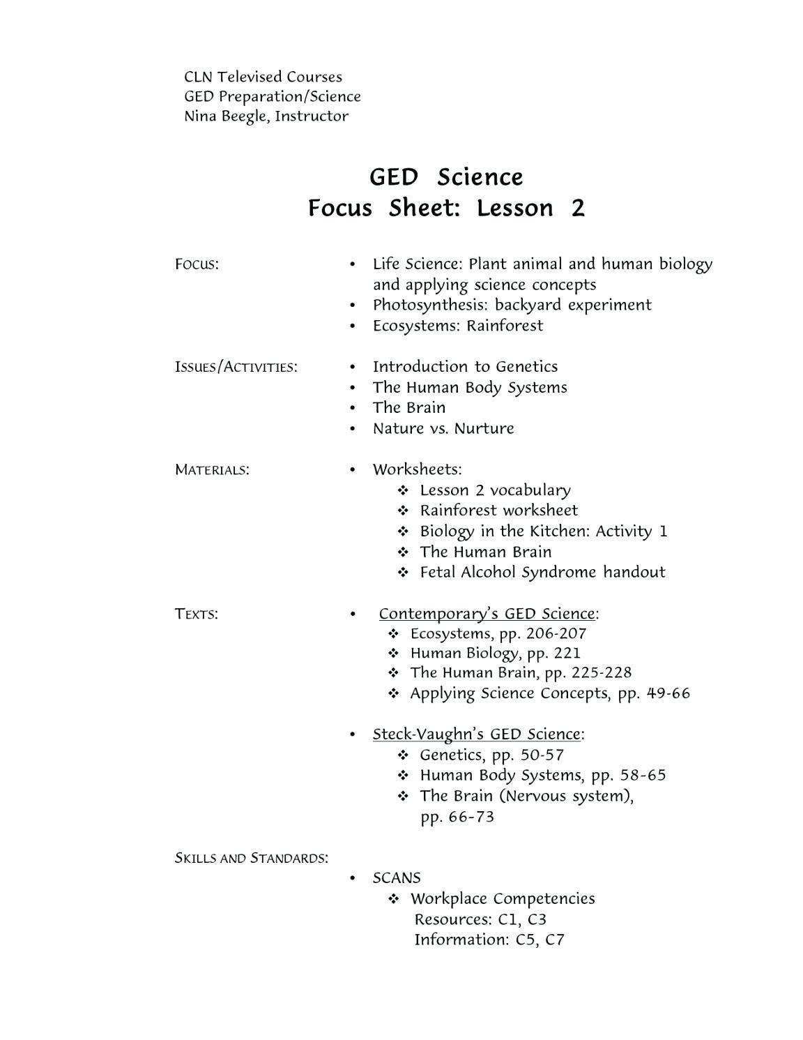 Free Printable Ged Science Worksheets