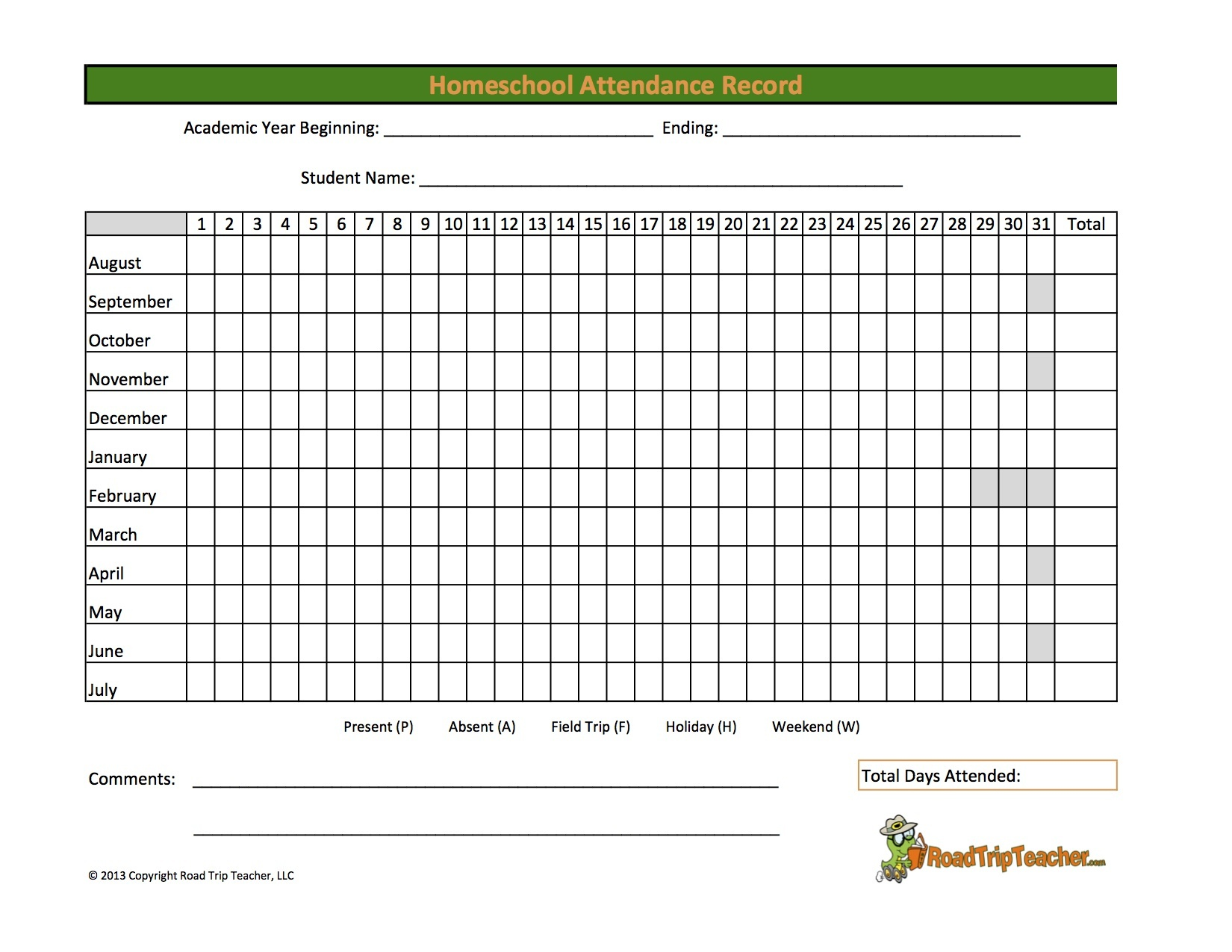 Free Printable Attendance Sheets For Homeschool