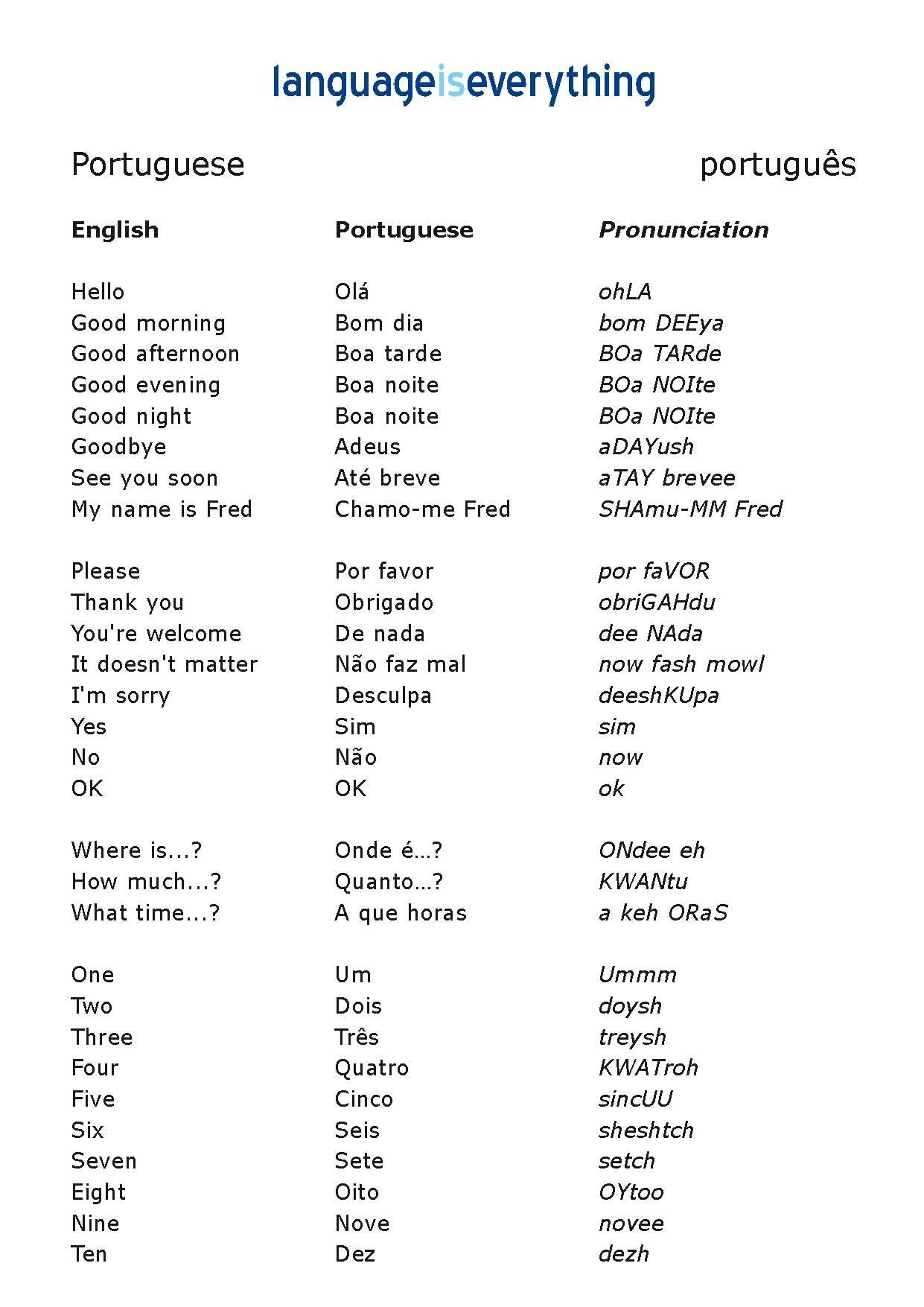 Free Printable Portuguese Worksheets