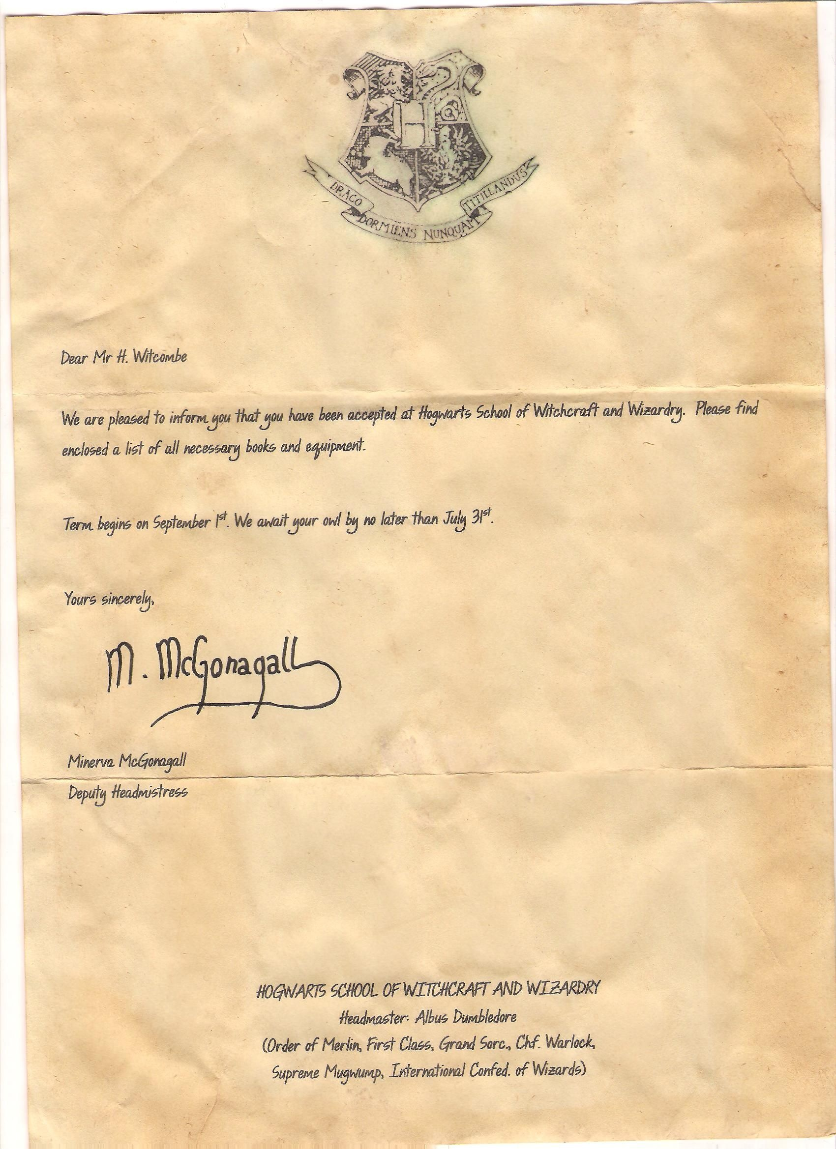 Hogwarts Acceptance Letter Template Free Printable