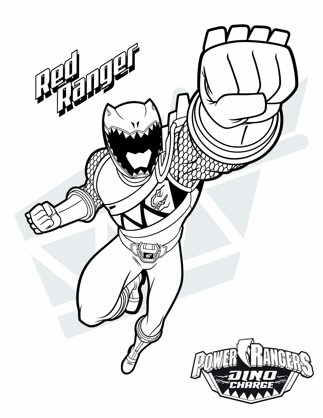 Power Rangers Dino Charge Gold Ranger Coloring Pages Free