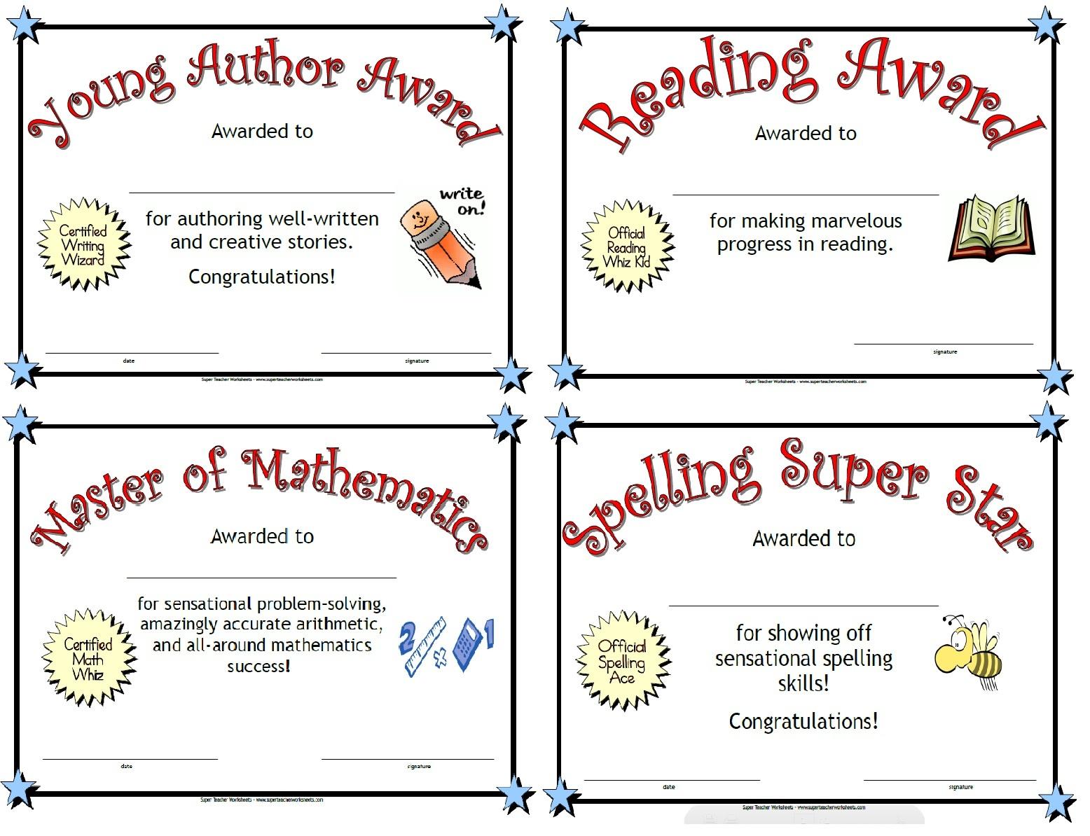 Free Printable Student Award Certificate Template