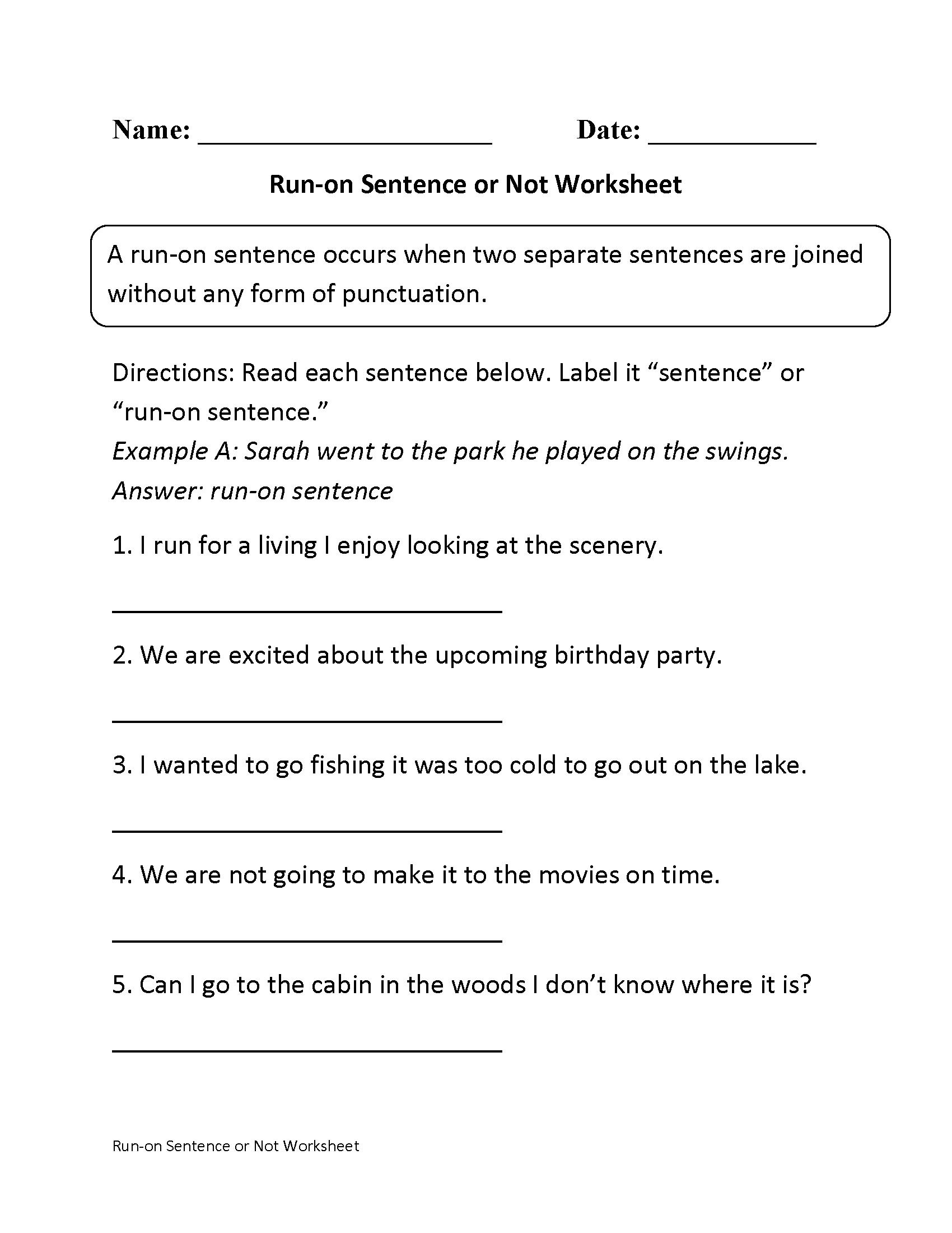 Correcting Run On Sentences Worksheet