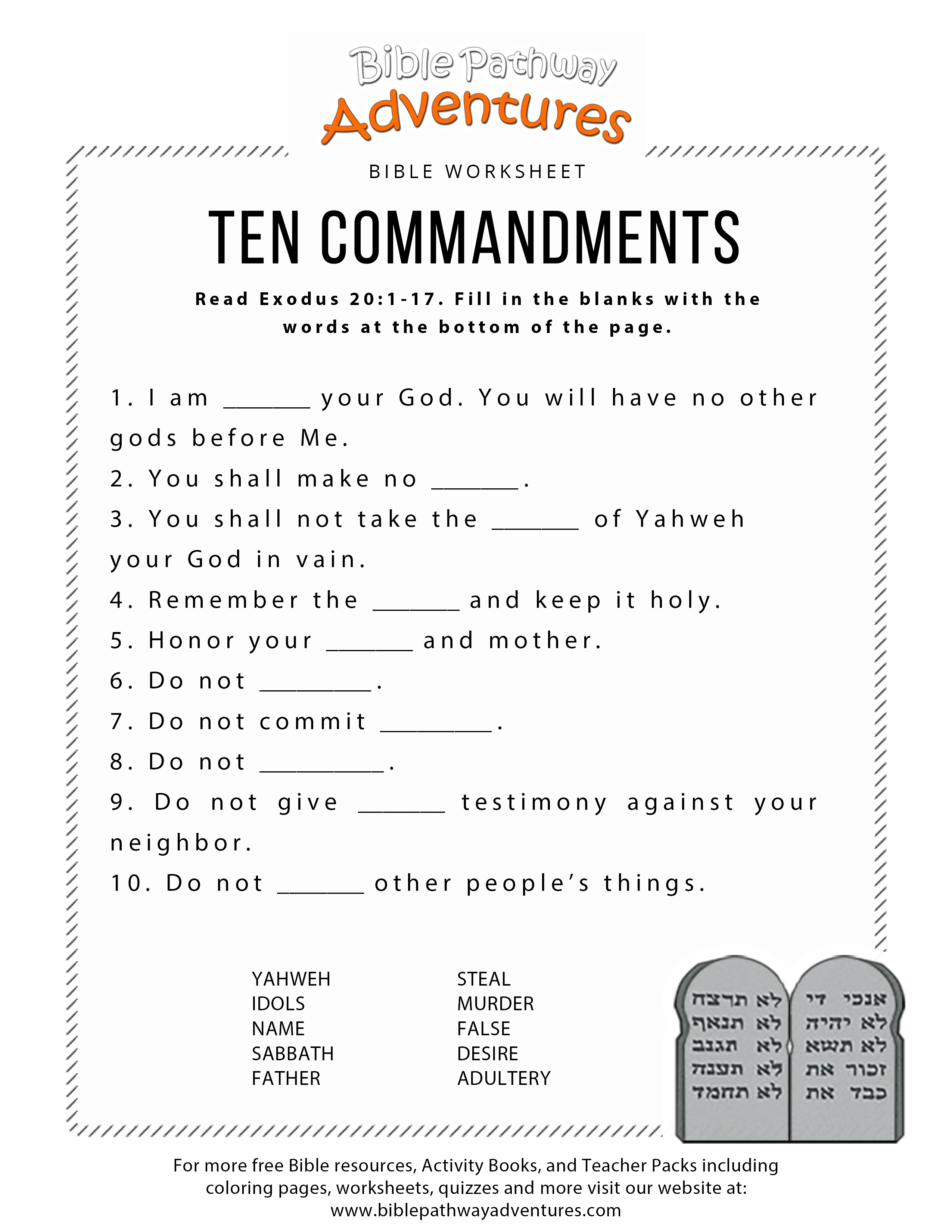 Free Catholic Ten Commandments Printable
