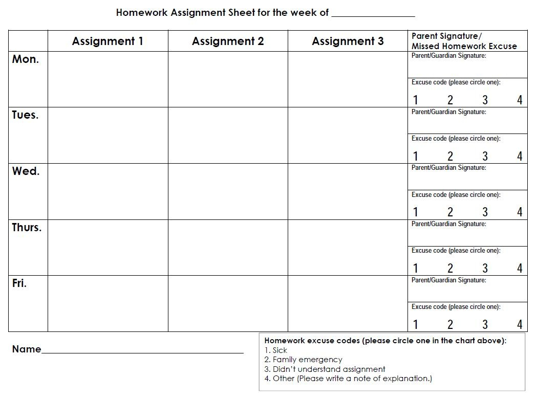 Free Printable Daily Assignment Sheets