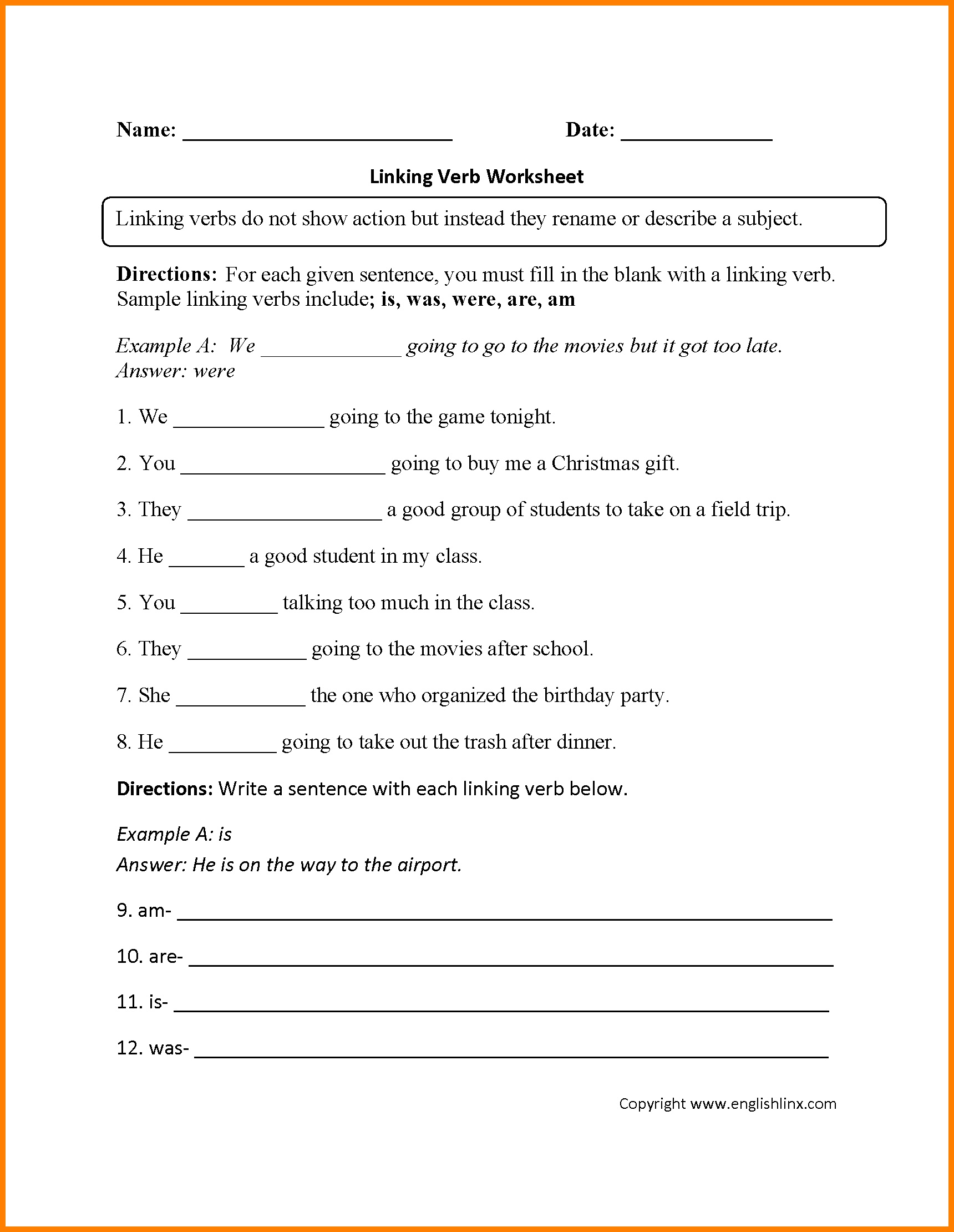 Free Printable Linking Verbs Worksheets