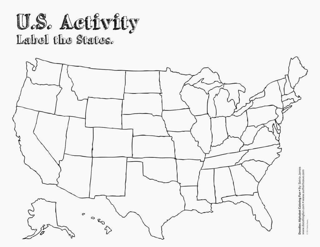 Us States Map Test Printable