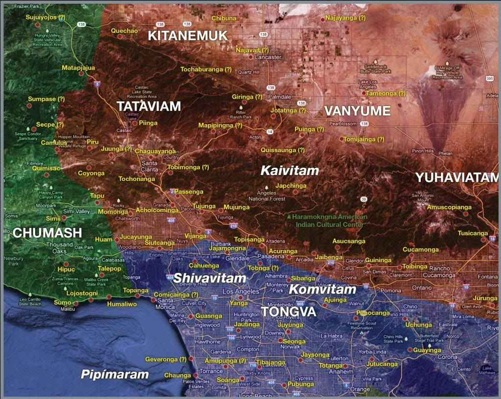 Southern California Native American Tribes Map