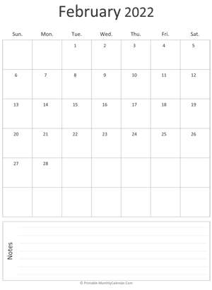 Free printable march 2022 calendar pdf and image. February 2022 Calendar Templates