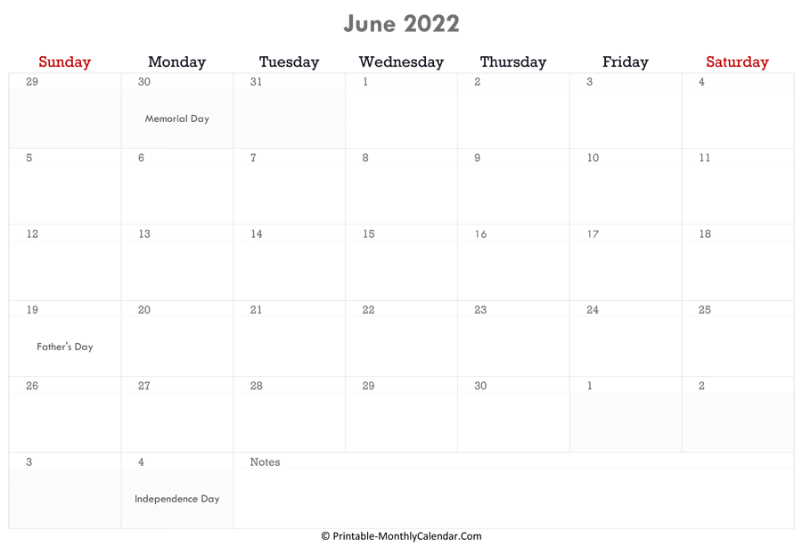 For a printable 2021 calendar or 2022 calendar, click on the year following the particular type. June 2022 Calendar Printable with Holidays