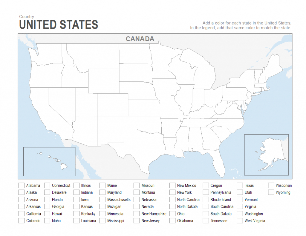 Printable Usa Map To Color