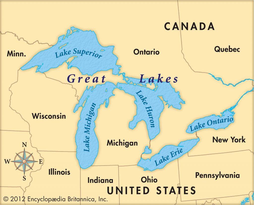 Lake Huron Location On The Us Map State Borders Printable